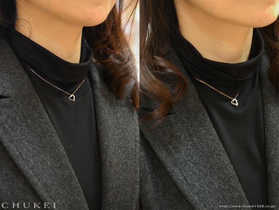 K18ピンクゴールドネック着装
