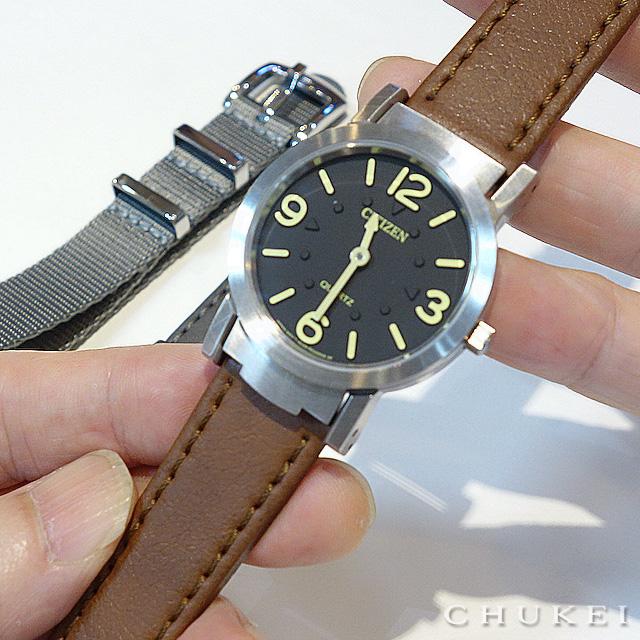 シチズン視覚障害者対応時計アッ220-55Eのストラップ交換 モレーラート レザーストラップ ブラウン