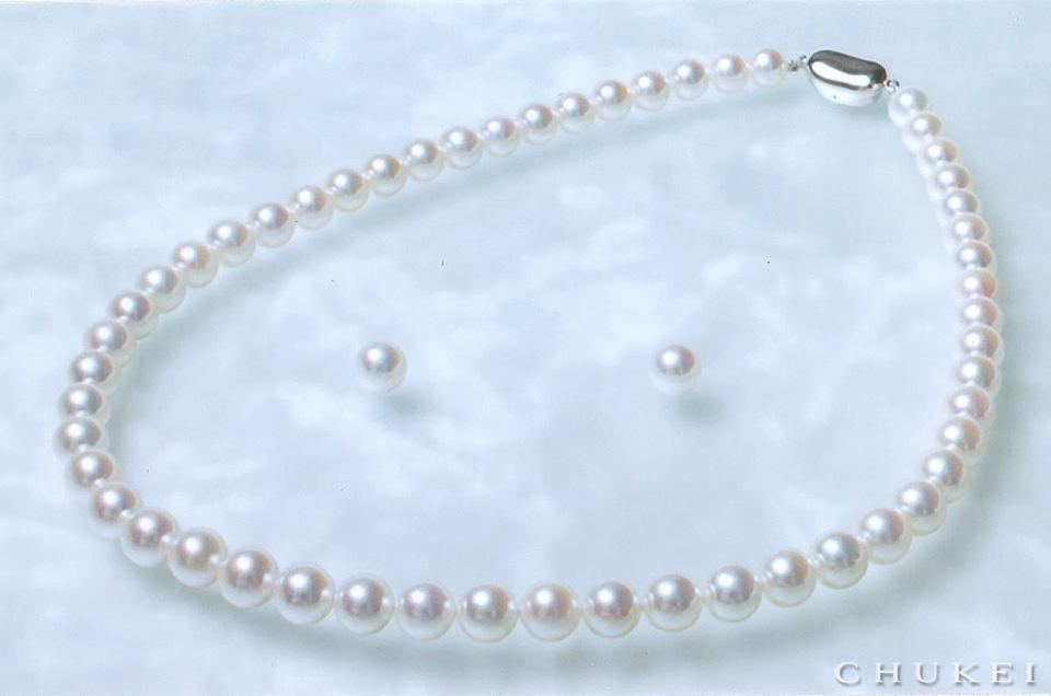 オーロラ花珠 75-8ミリ アコヤ真珠パールネックレス、イヤリング
