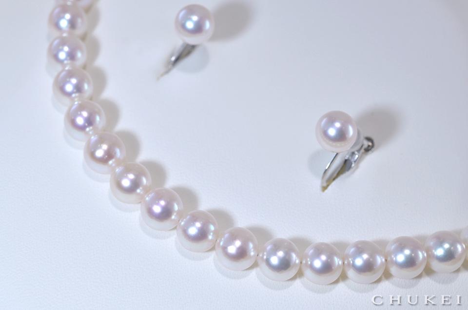 アコヤ真珠 7.5−8ミリ(オーロラ花珠)イヤリング付きセット
