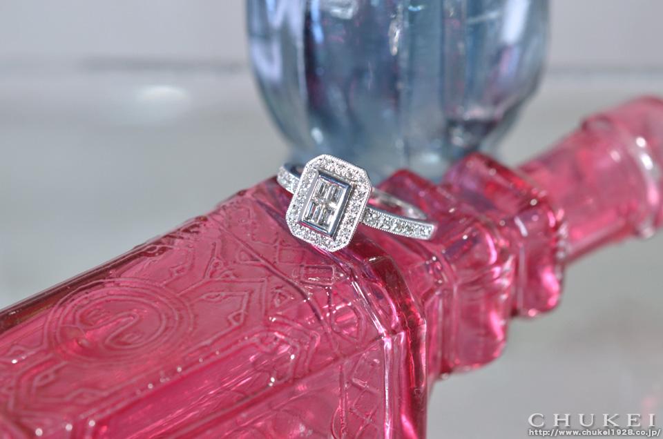 K18ホワイト ダイヤモンドリング アンティーク調 イメージ
