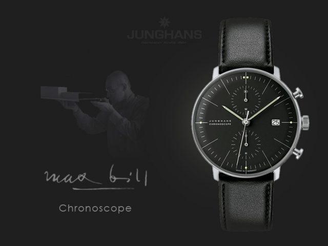 ユンハンス マックスビル クロノスコープ 自動巻き40mmブラック 027 4601 00
