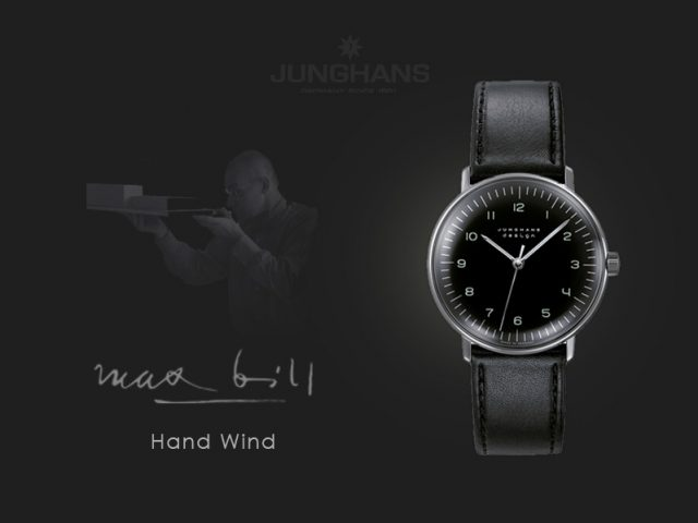 ユンハンス マックスビル手巻き 34mm ブラックアラビア 027 3702 00