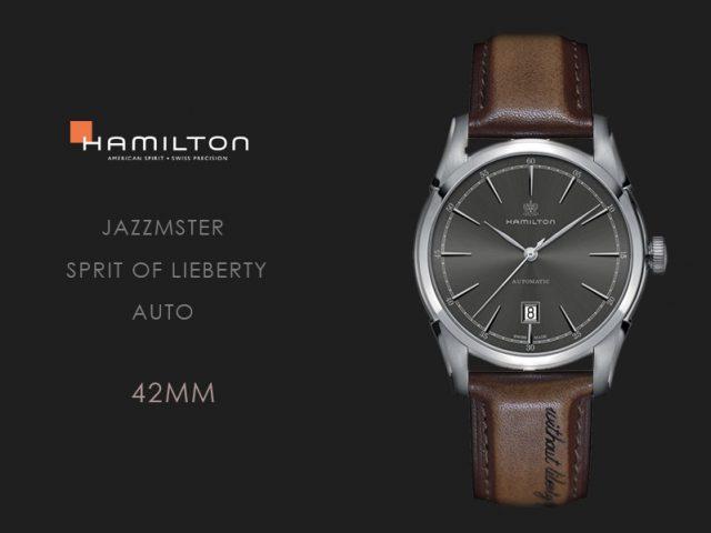 ハミルトン スピリットオブリバティ グレーダイヤル ライトブラウンカーフストラップ仕様 H42415591