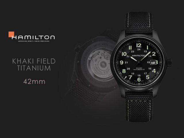 ハミルトンカーキフィールドチタニューム(ブラックPVD)ブラックナイロンストラップ仕様 H70575733
