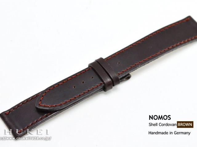 SC1BRS4 ノモス純正シェルコードバン18MM(ブラウン/赤ステッチ)Sサイズ