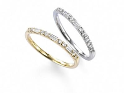 清楚で透明感のあるバゲットダイヤがアクセントのハーフエタニティリング。落ち着いた輝きと、ひと味違う個性を楽しめます。