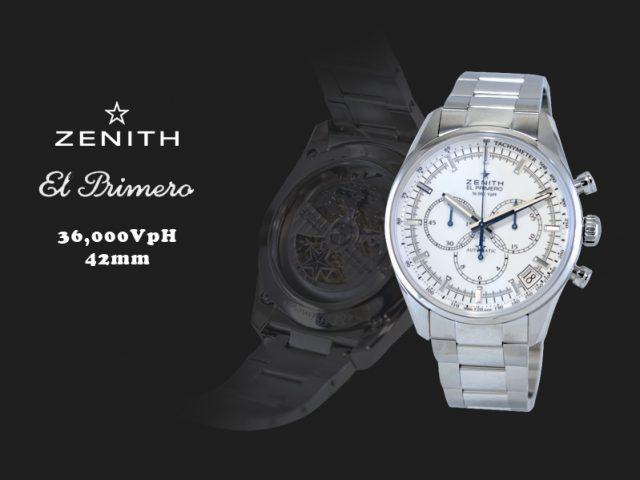 ゼニス エルプリメロ 36,000VPH ホワイト ダイヤル ブレス仕様。03.2080.400/01.M2040