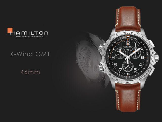 ハミルトン カーキX-WIND GMT H77912535 ブラウンカーフ