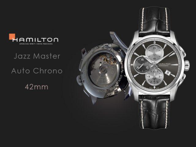 ハミルトン ジャズマスターオートクロノ グレー/  ブラックカーフストラップ仕様  H32596781