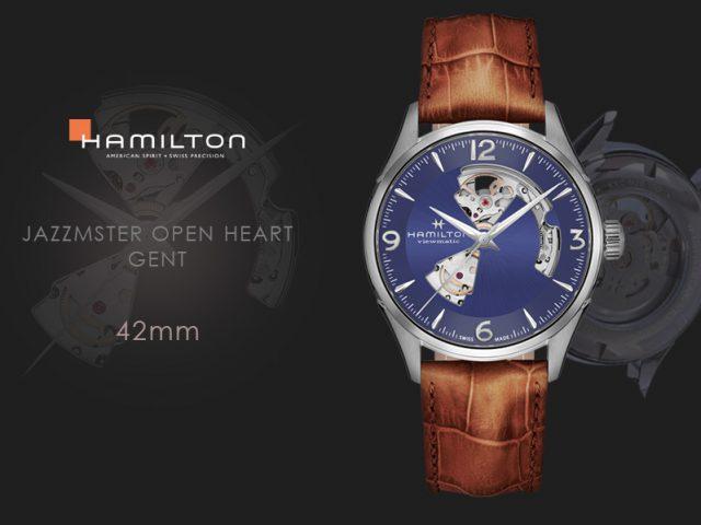 ハミルトン ジャズマスター オープンハート 42MM ブルー ブラウンストラップ仕様H32705541