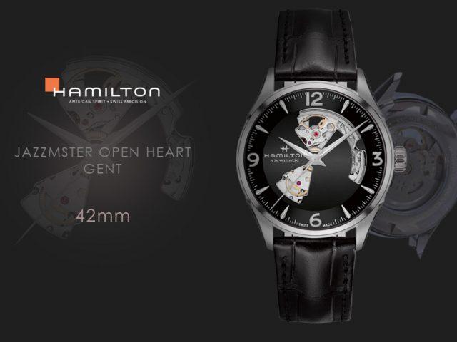 ハミルトン ジャズマスター オープンハート42MM  ブラック ストラップ仕様H32705731