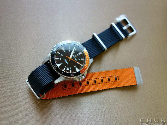 ハミルトン カーキネイビースキューバ H82305931 テキスタイルストラップ裏オレンジ