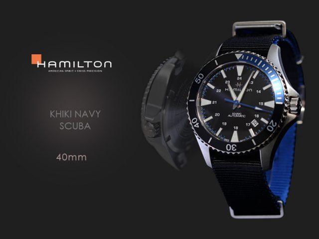 ハミルトン カーキ ネイビースキューバ(ブルー)40MM ブラックテキスタルストラップ H82315931