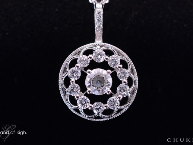 K18ダイヤモンドペンダント 正面から立体表現