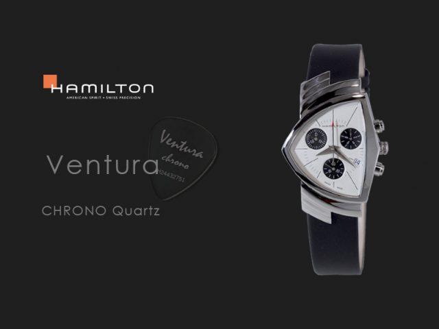 ハミルトン ベンチュラ クロノ ホワイトxブラック カーフストラップ クォーツ H24432751
